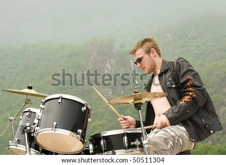 stylish drummer - outdoors shoot