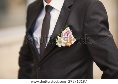 stylish fashion groom, wedding, traditions, boutonniere, classic suit
