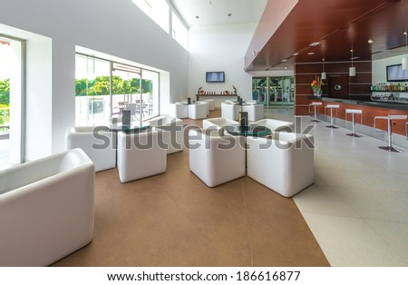Stylish modern interior of the restaurant, cafe, bar of the luxury resort.