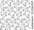 Stylish seamless floral pattern. Black and white - stock photo