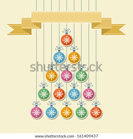 Stylized christmas tree made from color balls with snowflake and gold banner. Original invitation and greeting card with text box. Vintage simple background. Abstract decorative illustration