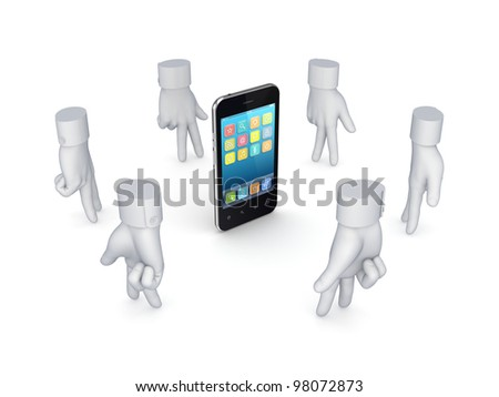 Stylized cursors around modern mobile phone.Isolated on white background.3d rendered.