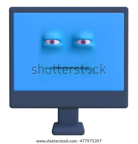 Stylized funny cartoon monitor screen with face. Children clay, plastic or soft toy. 3d illustration.