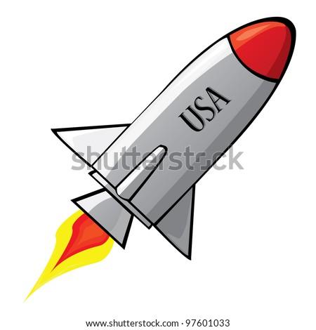 Stylized illustration of a retro rocket ship space vehicle ...