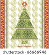 Stylized lace christmas tree. Ready to print raster image - stock vector