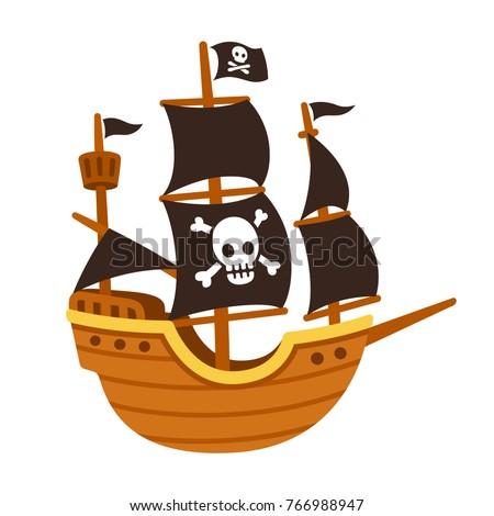 Cute pirate ship clipart