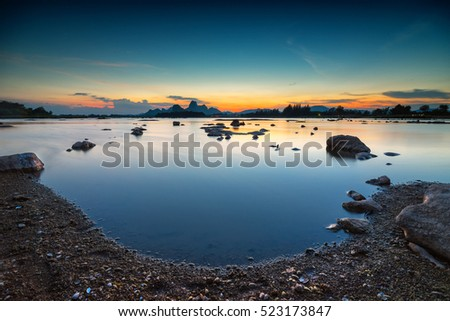 Sublek reservoir and sunset sky. Composition of nature.