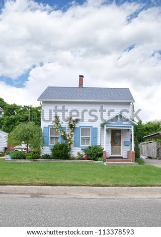 Suburban Home Front Yard Curb Street Cloudy Blue Sky Day