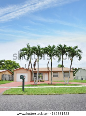 Suburban Home with Curbside Mailbox Palm Trees Residential Neighborhood USA Blue Sky Clouds