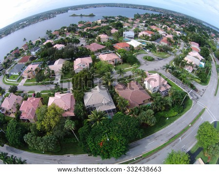 Suburban neighborhood in Florida seen from high up