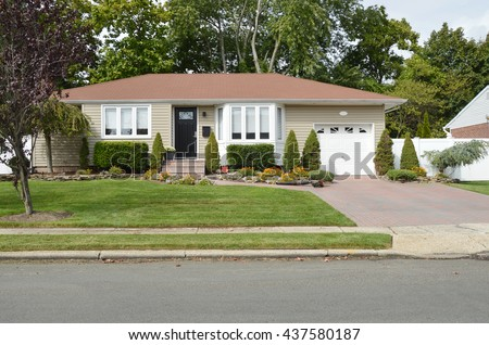 Suburban Ranch House Bay Window Flowers Residential Neighborhood USA