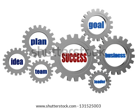 success and business concept words in 3d silver grey gearwheels
