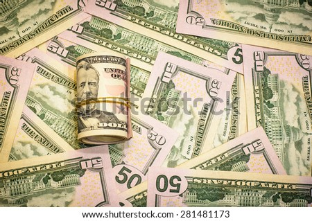 Success and got profit from business with all fifty us dollars banknotes