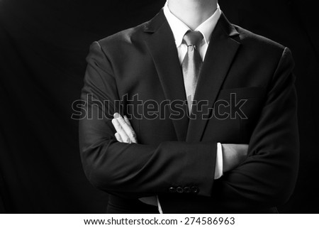 Success businessman in black and white photo style