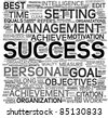 Success concept related words in tag cloud isolated on white - stock vector
