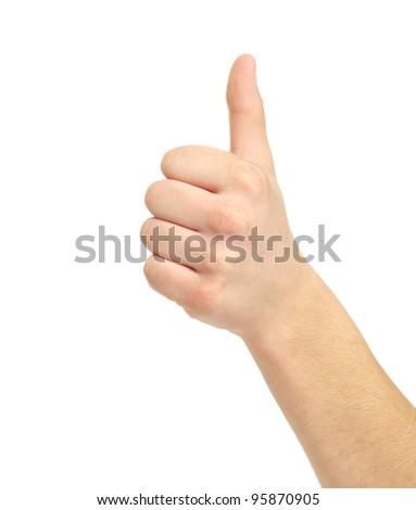 success hand sign isolated on white
