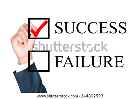 success is answer choose by businessman tick choice whiteboard white background