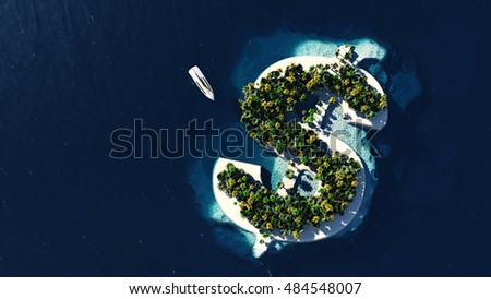 Success way. Tropical island in the form of dollar, 3D Illustration