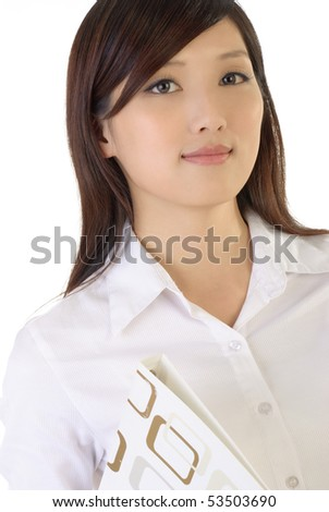 Successful Asian business woman portrait on white background.