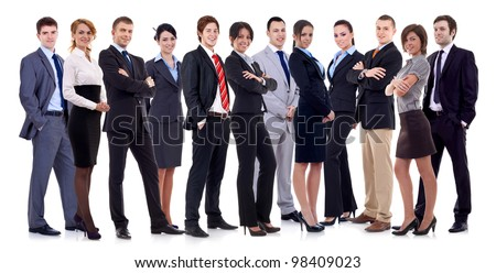 Successful happy business team formed by business men and women, isolated on white