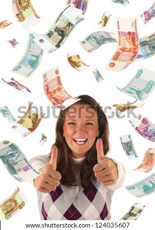 Successful investment (falling roubles banknotes). Conceptual business image.