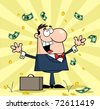 Successful White Businessman Standing Under Falling Money - stock vector
