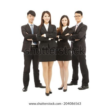 successful young business team standing together