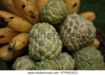 Sugar apple and banana  tropical Thai fruits arranges on the basket