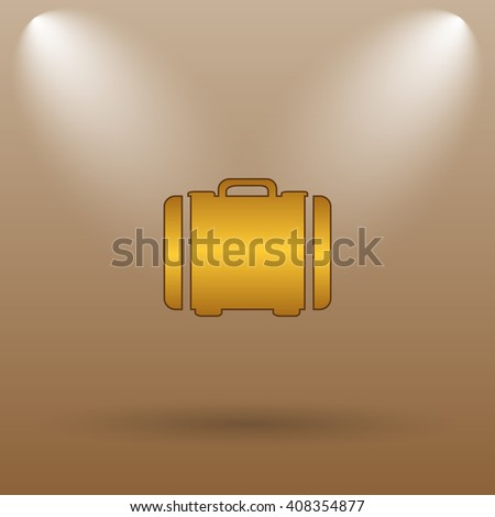 Suitcase icon. Internet button on brown background.