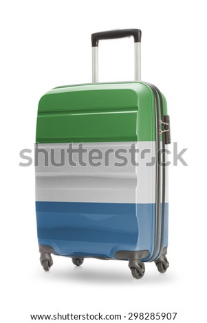 Suitcase painted into national flag - Sierra Leone
