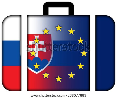 Suitcase with Slovakia and European Union Flag