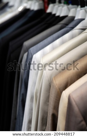 suits on the hangers close-up
