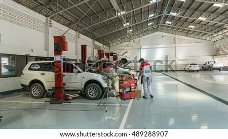 Sukhothai September 24mechanic Repairing Car Mitsubishi Stock