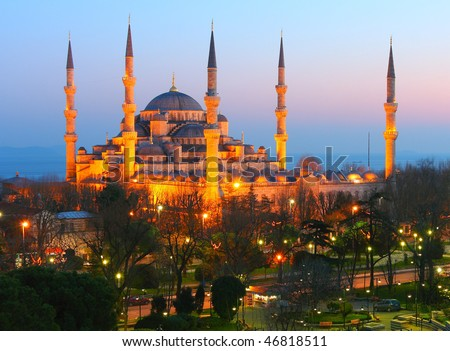 Sultan Ahmet Blue Mosque in Dusk.  This is just after the sunset.  Mosque is lighted by the lights to appear in golden light.