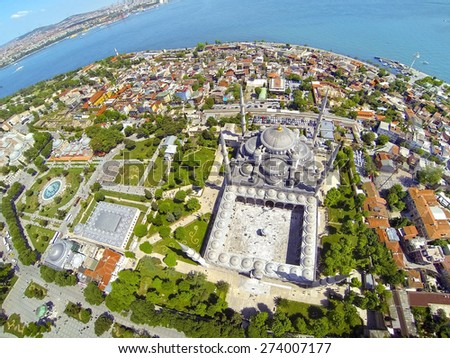 Sultanahmet Square and Blue Mosque. Aerial Istanbul