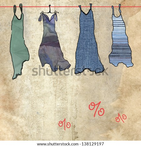 Summer dresses on sale. Old paper background
