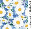 Summer floral seamless pattern. Flower background with chamomile and cornflower. - stock vector