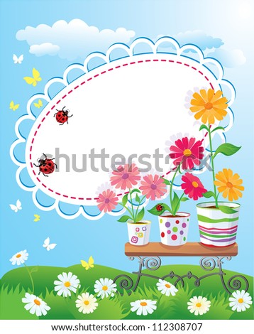 Summer frame with flowers in pots, ladybirds and butterflies. Raster version