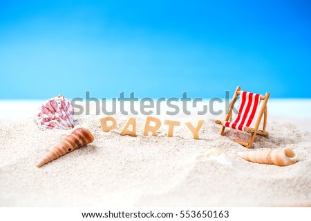 Summer holiday decoration with beach wooden text, beach chair and sea shall on white sand beach with tropical blue sea and clear blue sky,Image For Love summer holiday vacation travel Concept.