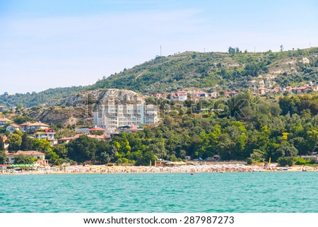 Summer panoramic landscape of Balchik resort town, coast of the Black Sea, Varna region, Bulgaria