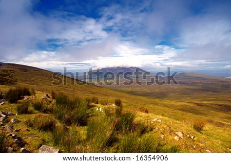 summer view of Achill Island, Co.Mayo, Ireland showing mountains, hill and valleys