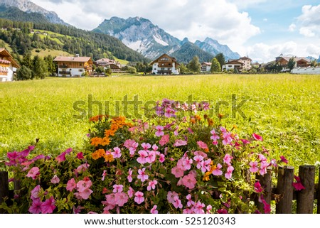 summer village in Val Gardena South Tirol, Dolomiten mountains, Italy