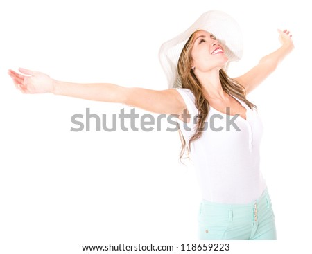 Summer woman enjoying her holidays- isolated over a white background