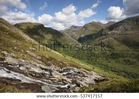 Summers day at the head of Glen Nevis from the water slide.