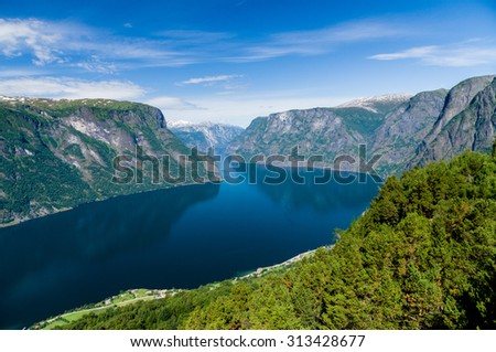 Summertime view to Sognefjord from Stegastein viewpoint, Norway