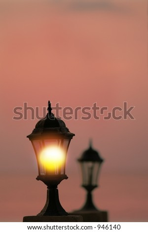 sun captured in a street lamp