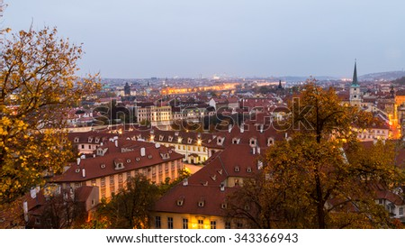 sun goes down and night starts in Prague in an autumn day