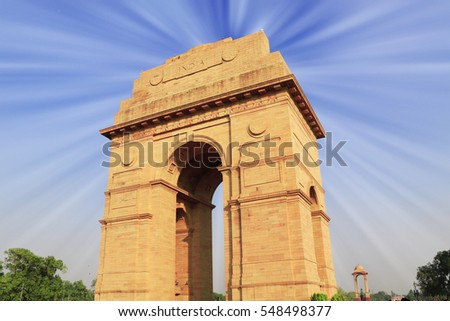 Sun Ray reflect on India Gate, New Delhi, India .