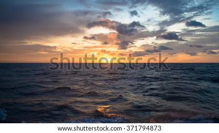 Sun Set in The Middle of The Ocean