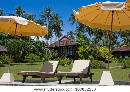 Sunbeds and umbrellas by the pool in a tropical garden, Thailand.